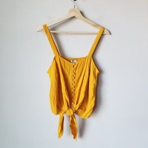 Madewell Button Front Tie Tank Sleeveless Yellow